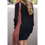 cheap Loose Lace Up Long Sleeve Dress