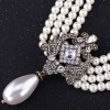 Elegant Faux Pearl Rhinestone Hollow Out Necklace For Women for sale