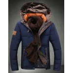 Buy Hooded Letter Embroidered Slimming Long Sleeve Men's Cotton-Padded Jacket M