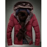 Buy Hooded Letter Embroidered Slimming Long Sleeve Men's Cotton-Padded Jacket 3XL