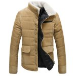 Buy Fur Collar PU Leather Spliced Flap Pocket Long Sleeves Fitted Men's Thicken Corduroy Padded Coat M