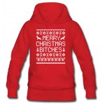 Chic Hooded Letter and Snowflake Printed Pullover Christmas Hoodie For Women