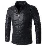 Stand Collar Solid Color Multi-Pocket Long Sleeve Men's PU-Leather Jacket 11027