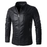 cheap Stand Collar Solid Color Multi-Pocket Long Sleeve Men's PU-Leather Jacket