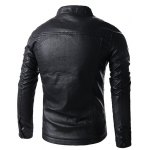 Stand Collar Solid Color Multi-Pocket Long Sleeve Men's PU-Leather Jacket deal