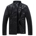 Stand Collar Solid Color Multi-Pocket Long Sleeve Men's PU-Leather Jacket for sale