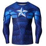 Buy Vogue Skinny Round Neck 3D America Captain Print Quick-Dry Men's Superhero Long Sleeves T-Shirt S