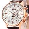 GUANQIN Male Leather Calendar Luminous Analog Quartz Watch with Moving Sub-dials for sale