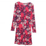 best Round Collar Long Sleeve Deer Print A-Line Women Christmas Swing Dress