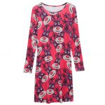 Round Collar Long Sleeve Deer Print A-Line Women Christmas Swing Dress for sale