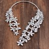 cheap Hollow Out Rhinestone Floral Cuff Necklace