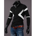 cheap Hot Sale Turn-down Collar Color Block Triangle Spliced Slimming Long Sleeves Men's Polo T-Shirt