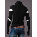 Hot Sale Turn-down Collar Color Block Triangle Spliced Slimming Long Sleeves Men's Polo T-Shirt deal