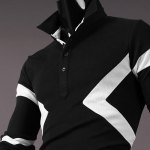 Hot Sale Turn-down Collar Color Block Triangle Spliced Slimming Long Sleeves Men's Polo T-Shirt for sale