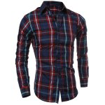 Casual Turn-down Collar Color Block Checked Print Slimming Men's Long Sleeves Shirt deal