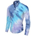cheap One Patch Pocket 3D Tie-Dye Slimming Shirt Collar Long Sleeves Men's Ombre Button-Down Shirt