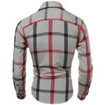 Buy Classic Color Block Plaid Pattern Slimming Turn-down Collar Long Sleeves Men's Shirt M CHECKED