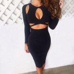 Sexy Jewel Neck Long Sleeve Hollow Out Pure Color Skinny Women Midi Dress