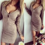 cheap Sexy Plunging Neck Long Sleeve Zippered Pure Color Bodycon Ladies Dress