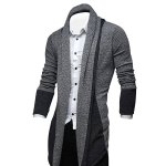 cheap Turndown Collar Color Block Longline Cardigan