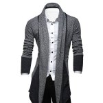 Turn-Down Collar Color Block Splicing Long Sleeve Lengthen Men's Cardigan 11027