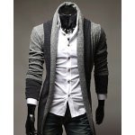 Turndown Collar Color Block Longline Cardigan deal
