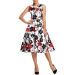 best Old Classical Style Round Collar Sleeveless Floral Print A-Line Pleated Women Midi Dress