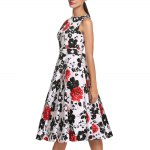 Old Classical Style Round Collar Sleeveless Floral Print A-Line Pleated Women Midi Dress deal