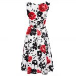 Old Classical Style Round Collar Sleeveless Floral Print A-Line Pleated Women Midi Dress photo