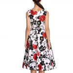 Old Classical Style Round Collar Sleeveless Floral Print A-Line Pleated Women Midi Dress for sale