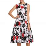 cheap Old Classical Style Round Collar Sleeveless Floral Print A-Line Pleated Women Midi Dress
