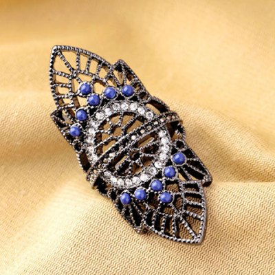 Retro Rhinestoned Hollow Out Leaf Ring For Women