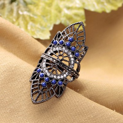 Retro Rhinestoned Hollow Out Leaf Ring