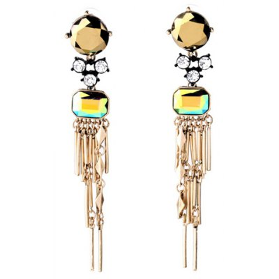 Pair of Graceful Rhinestone Faux Crystal Bar Drop Earrings For Women