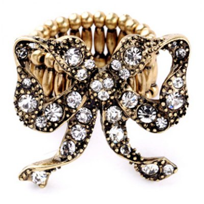 Retro Rhinestone Hollow Out Bowknot Ring For Women