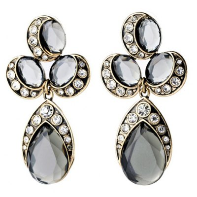 Pair of Retro Faux Ruby Rhinestone Water Drop Earrings For Women