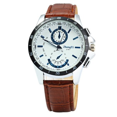 ZHONGYI Z831 Men Quartz Watch with Leather StrapMens Watches<br>ZHONGYI Z831 Men Quartz Watch with Leather Strap<br><br>Brand: ZHONGYI<br>Watches categories: Male table<br>Watch style: Casual<br>Movement type: Quartz watch<br>Shape of the dial: Round<br>Display type: Analog<br>Case material: Stainless steel<br>Band material: Leather<br>Clasp type: Pin buckle<br>Special features: Decorating small sub-dials<br>The dial thickness: 1.0 cm / 0.39 inches<br>The dial diameter: 4.0 cm / 1.57 inches<br>The band width: 2.0 cm / 0.79 inches<br>Wearable length: 18 - 22.5 cm / 7.09 - 8.86 inches<br>Product weight: 0.053 kg<br>Package weight: 0.103 kg<br>Product size (L x W x H): 25 x 4 x 1 cm / 9.83 x 1.57 x 0.39 inches<br>Package size (L x W x H): 26 x 5 x 2 cm / 10.22 x 1.97 x 0.79 inches<br>Package contents: 1 x ZHONGYI Z831 Watch