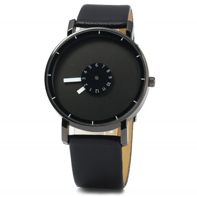Male Quartz Watch with Rotational Scales Leather Band