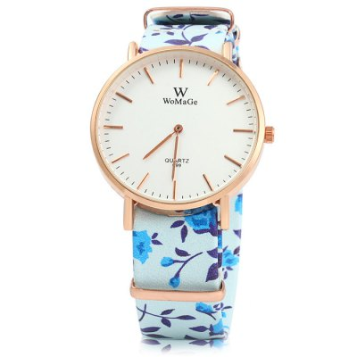 Womage 699 Flower Leather Band Lady Quartz WatchWomens Watches<br>Womage 699 Flower Leather Band Lady Quartz Watch<br><br>Brand: WoMaGe<br>Watches categories: Female table<br>Available color: Blue, Purple, Beige, Plum, Black, Pink<br>Style: Fashion&amp;Casual<br>Movement type: Quartz watch<br>Shape of the dial: Round<br>Display type: Analog<br>Case material: Stainless steel<br>Band material: Leather<br>Clasp type: Pin buckle<br>The dial thickness: 1.0 cm / 0.39 inches<br>The dial diameter: 4.0 cm / 1.57 inches<br>The band width: 2.0 cm / 0.79 inches<br>Wearable length: 14 - 21.5 cm / 5.51 - 8.46 inches<br>Product weight: 0.037 kg<br>Package weight: 0.087 kg<br>Product size (L x W x H) : 22.5 x 4 x 1 cm / 8.84 x 1.57 x 0.39 inches<br>Package size (L x W x H): 23.5 x 5 x 2 cm / 9.24 x 1.97 x 0.79 inches<br>Package contents: 1 x Womage 699 Watch