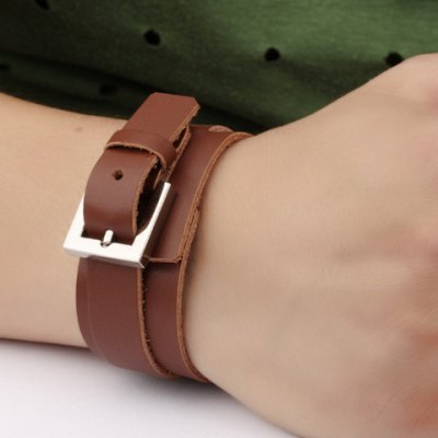 Vintage Double-Layered Faux Leather Belt Bracelet For Men