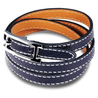 Vintage Three-Layered Faux Leather Belt Bracelet For Women