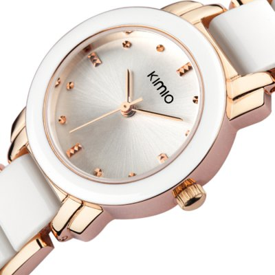 KIMIO K455L Fashion Style Bracelet Women Quartz WatchWomens Watches<br>KIMIO K455L Fashion Style Bracelet Women Quartz Watch<br><br>Brand: Kimio<br>Watches categories: Female table<br>Available color: Black, White, Pink, Gold, Pink and Gold<br>Style: Bracelet, Fashion&amp;Casual<br>Movement type: Quartz watch<br>Shape of the dial: Round<br>Display type: Analog<br>Case material: Alloy<br>Band material: Alloy + plastic<br>Clasp type: Sheet folding clasp<br>The dial thickness: 0.7 cm / 0.28 inches<br>The dial diameter: 2.1 cm / 0.83 inches<br>The band width: 1.2 cm / 0.47 inches<br>Product weight: 0.029 kg<br>Package weight: 0.079 kg<br>Product size (L x W x H) : 21 x 2.1 x 0.7 cm / 8.25 x 0.83 x 0.28 inches<br>Package size (L x W x H): 22 x 3.1 x 1.7 cm / 8.65 x 1.22 x 0.67 inches<br>Package contents: 1 x KIMIO K455L Watch