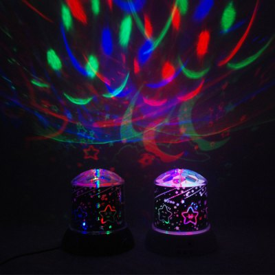Rotating LED Star Master Projector with Cartoon PatternIndoor Lights<br>Rotating LED Star Master Projector with Cartoon Pattern<br><br>Type: Projector Lamp<br>Laser Color: Colorful<br>Battery Type: AA<br>Number of Batteries: 3 x AA battery (not included)<br>Output Power (W): 0.5W<br>Voltage (V): DC 5V<br>Lifespan (Hour): 100000h<br>Function: For Decoration<br>Material: ABS<br>Product Weight: 0.460 kg<br>Package Weight: 0.583 kg<br>Product Size(L x W x H): 11.5 x 11.5 x 12.5 cm / 4.52 x 4.52 x 4.91 inches<br>Package Size (L x W x H): 12.5 x 12.5 x 13.5 cm / 4.91 x 4.91 x 5.31 inches<br>Package Contents: 1 x Star Projector, 1 x USB Cable