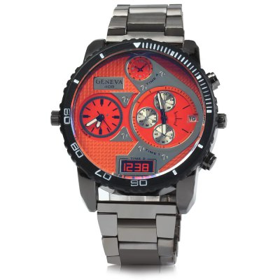 Genenva 408 Dual Movt Date Function Men Quartz WatchMens Watches<br>Genenva 408 Dual Movt Date Function Men Quartz Watch<br><br>Brand: Geneva<br>Watches categories: Male table<br>Watch style: Fashion<br>Available color: Red, Blue, Yellow, Orange<br>Movement type: Double-movtz<br>Shape of the dial: Round<br>Display type: Analog<br>Case material: Stainless steel<br>Band material: Stainless steel<br>Clasp type: Folding clasp with safety<br>Special features: Decorating small sub-dials, Date<br>The dial thickness: 1.2 cm / 0.47 inches<br>The dial diameter: 5.0 cm / 1.97 inches<br>The band width: 2.2 cm / 0.87 inches<br>Product weight: 0.145 kg<br>Package weight: 0.195 kg<br>Product size (L x W x H): 22 x 5 x 1.2 cm / 8.65 x 1.97 x 0.47 inches<br>Package size (L x W x H): 23 x 6 x 2.2 cm / 9.04 x 2.36 x 0.86 inches<br>Package contents: 1 x Genenva 408 Watch