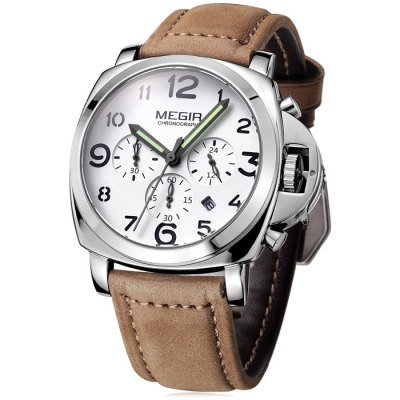 MEGIR 3778 Genuine Leather band Men Quartz WatchMens Watches<br>MEGIR 3778 Genuine Leather band Men Quartz Watch<br><br>Brand: MEGIR<br>Watches categories: Male table<br>Watch style: Business<br>Available color: Black,Brown,Khaki<br>Movement type: Quartz watch<br>Shape of the dial: Round<br>Display type: Analog<br>Case material: Stainless Steel<br>Band material: Genuine Leather<br>Clasp type: Pin buckle<br>Special features: Date,Luminous,Moving small three stitches<br>Water resistance : 30 meters<br>The dial thickness: 1.7 cm / 0.67 inches<br>The dial diameter: 4.4 cm / 1.73 inches<br>The band width: 2.4 cm / 0.94 inches<br>Product weight: 0.090 kg<br>Package weight: 0.14 kg<br>Product size (L x W x H): 22 x 4.4 x 1.7 cm / 8.65 x 1.73 x 0.67 inches<br>Package size (L x W x H): 23 x 5.4 x 2.7 cm / 9.04 x 2.12 x 1.06 inches<br>Package Contents: 1 x MEGIR 3778 Watch