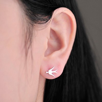 Pair of Adorable Solid Color Swallow Shape Earrings For Women