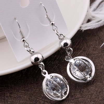 Pair of Vintage Faux Crystal Round Hollow Out Drop Earrings For Women