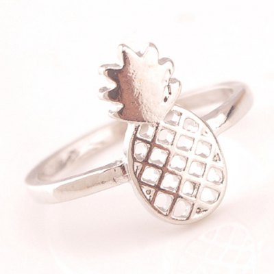 Chic Solid Color Rhinestone Hollow Out Pineapple Ring For Women