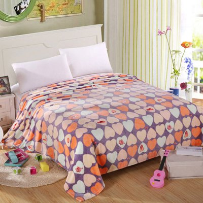 Stylish Heart Pattern Super Soft Warm Polyester Colorful Blanket