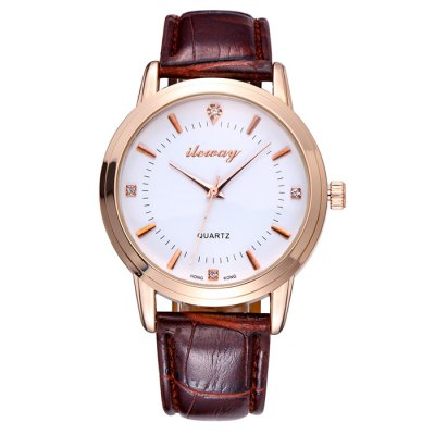 ileway 2744 Male Quartz Watch with Diamond Dots - ilewayMens Watches<br>ileway 2744 Male Quartz Watch with Diamond Dots<br><br>Brand: ileway<br>Watches categories: Male table<br>Watch style: Fashion<br>Available color: Brown<br>Movement type: Quartz watch<br>Shape of the dial: Round<br>Display type: Analog<br>Case material: Alloy<br>Band material: PU<br>Clasp type: Pin buckle<br>The dial thickness: 1.1 cm / 0.43 inches<br>The dial diameter: 4.0 cm / 1.57 inches<br>The band width: 1.8 cm / 0.71 inches<br>Product weight: 0.058 kg<br>Package weight: 0.108 kg<br>Product size (L x W x H): 25.2 x 4 x 1.1 cm / 9.90 x 1.57 x 0.43 inches<br>Package size (L x W x H): 26.2 x 5 x 2.1 cm / 10.30 x 1.97 x 0.83 inches<br>Package contents: 1 x ileway 2744 Watch